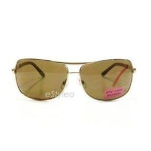 Betsey Johnson Aviator Sunglasses Shield Gold